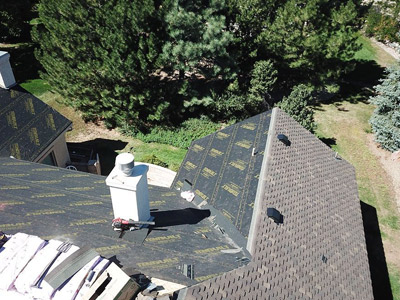 Aerial view of New Roof Installation in progress